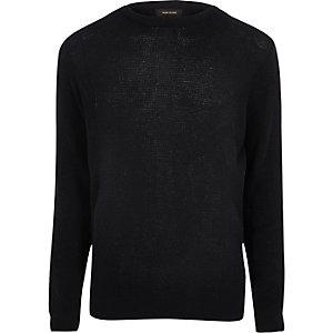 Navy textured knit slim fit crew neck jumper