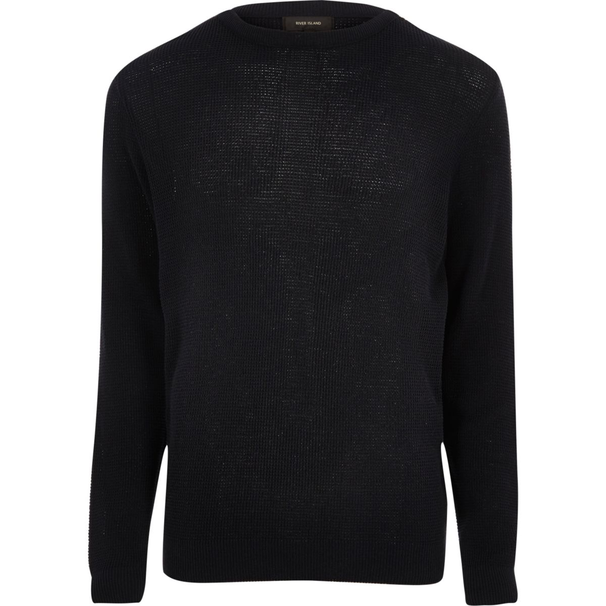 Navy textured knit slim fit crew neck sweater
