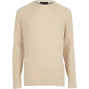 Stone textured crew neck sweater