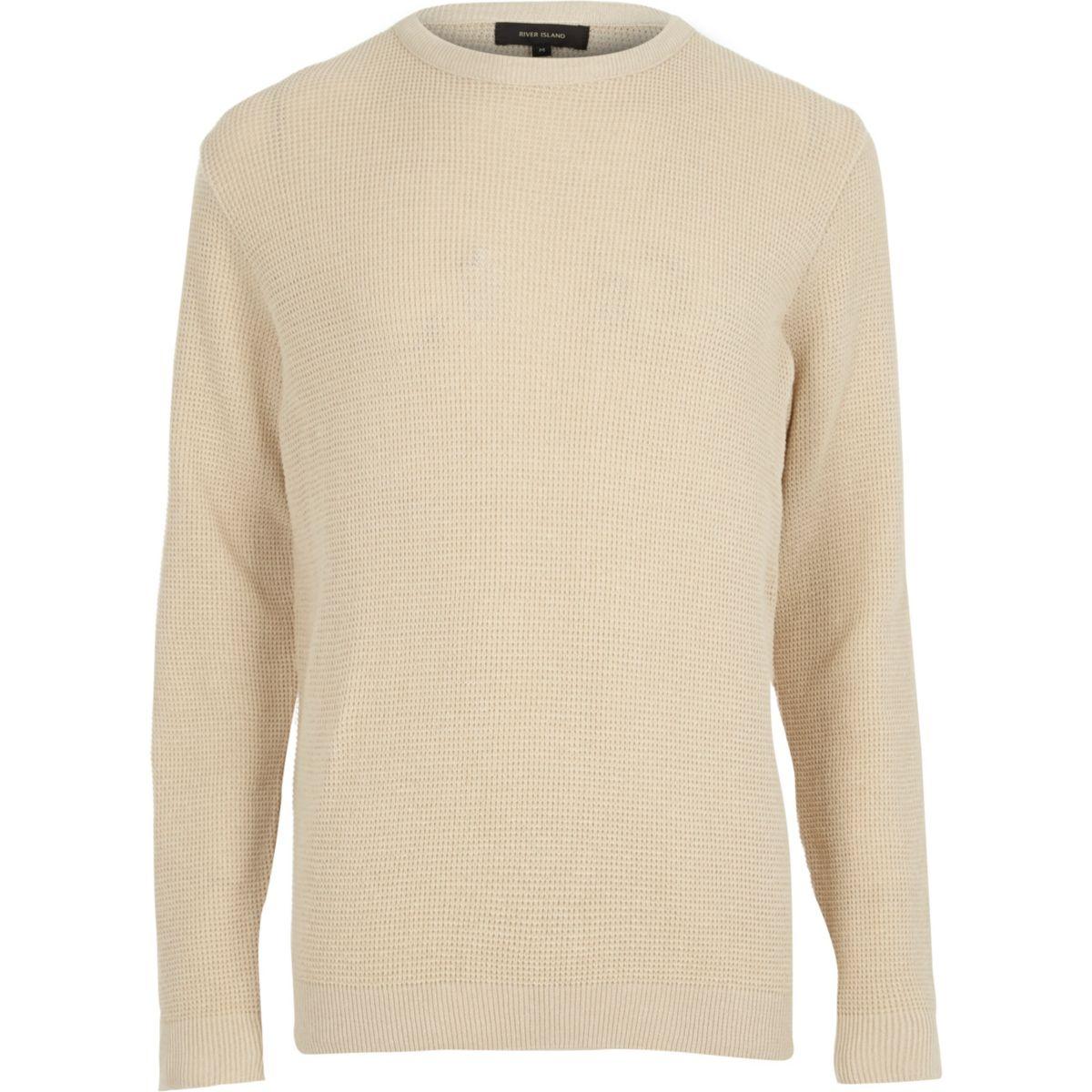 Stone textured crew neck sweater