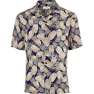Marineblauw overhemd met ananasprint en korte mouwen