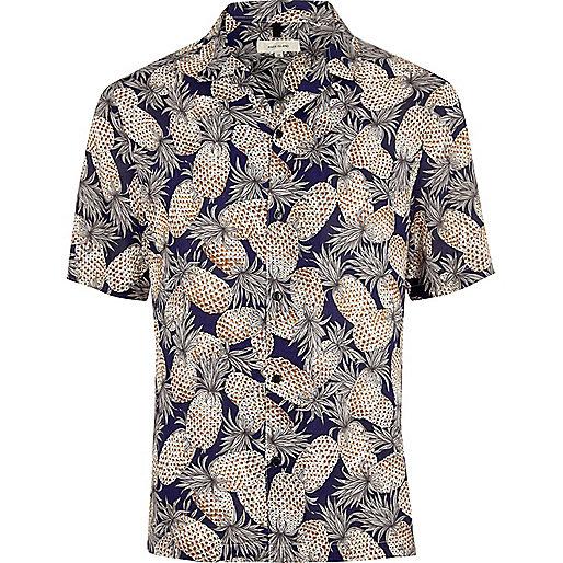 Navy pineapple print short sleeve shirt