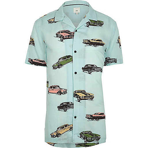 Green car print revere short sleeve shirt