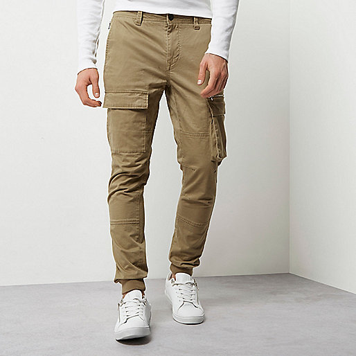 Tan cargo skinny fit trousers