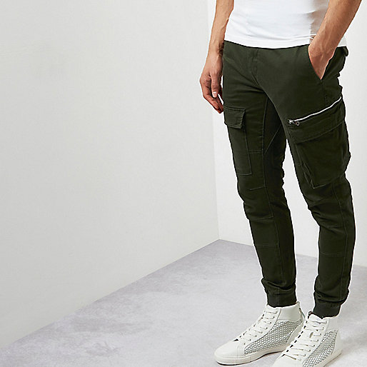 Khaki cargo skinny fit trousers