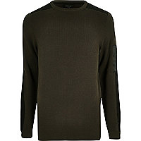 Khaki green ribbed slim fit jumper