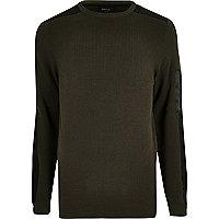 Khaki green ribbed slim fit sweater