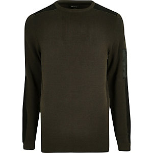 Khaki green ribbed slim fit jumper
