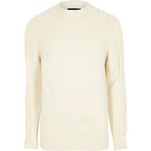 Cream textured crew neck knit jumper