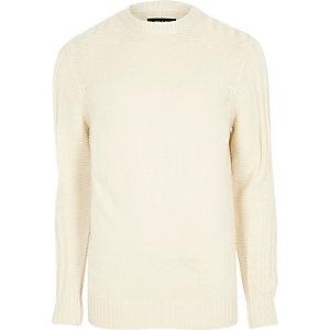 Pullover in Creme mit Rundhalsausschnitt