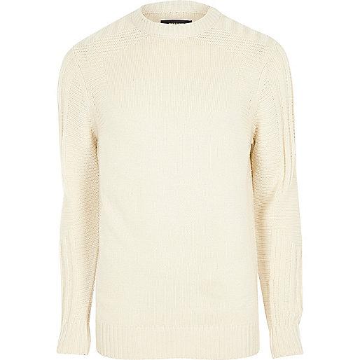 Cream textured crew neck knit jumper