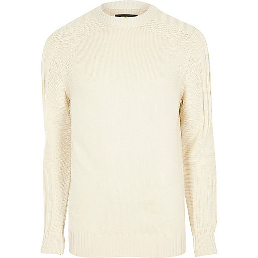 Cream textured crew neck knit sweater