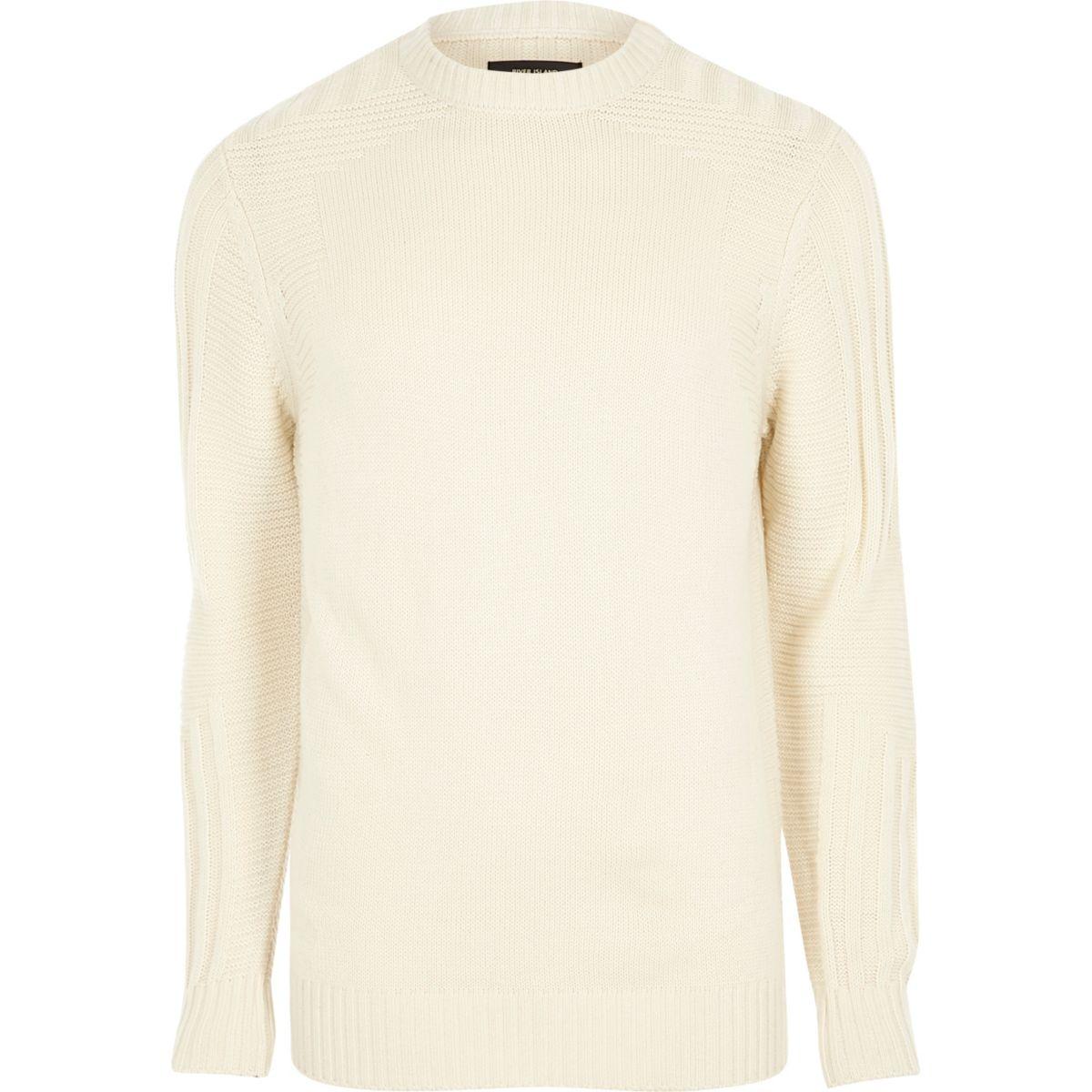 Cream textured crew neck knit sweater