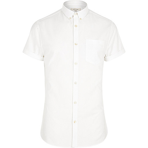 White short sleeve muscle fit Oxford shirt