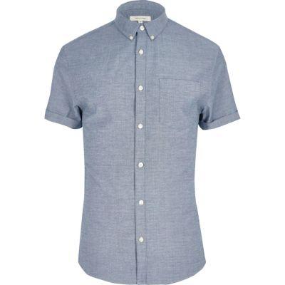 Oxford Grijs aansluitend overhemd met korte mouwen