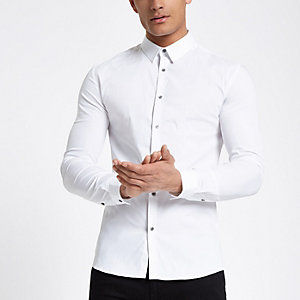 White poplin long sleeve muscle fit shirt