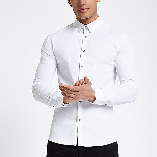 White poplin long sleeve muscle fit shirt
