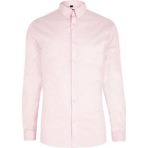Langärmliges, pinkes Muscle Fit Hemd