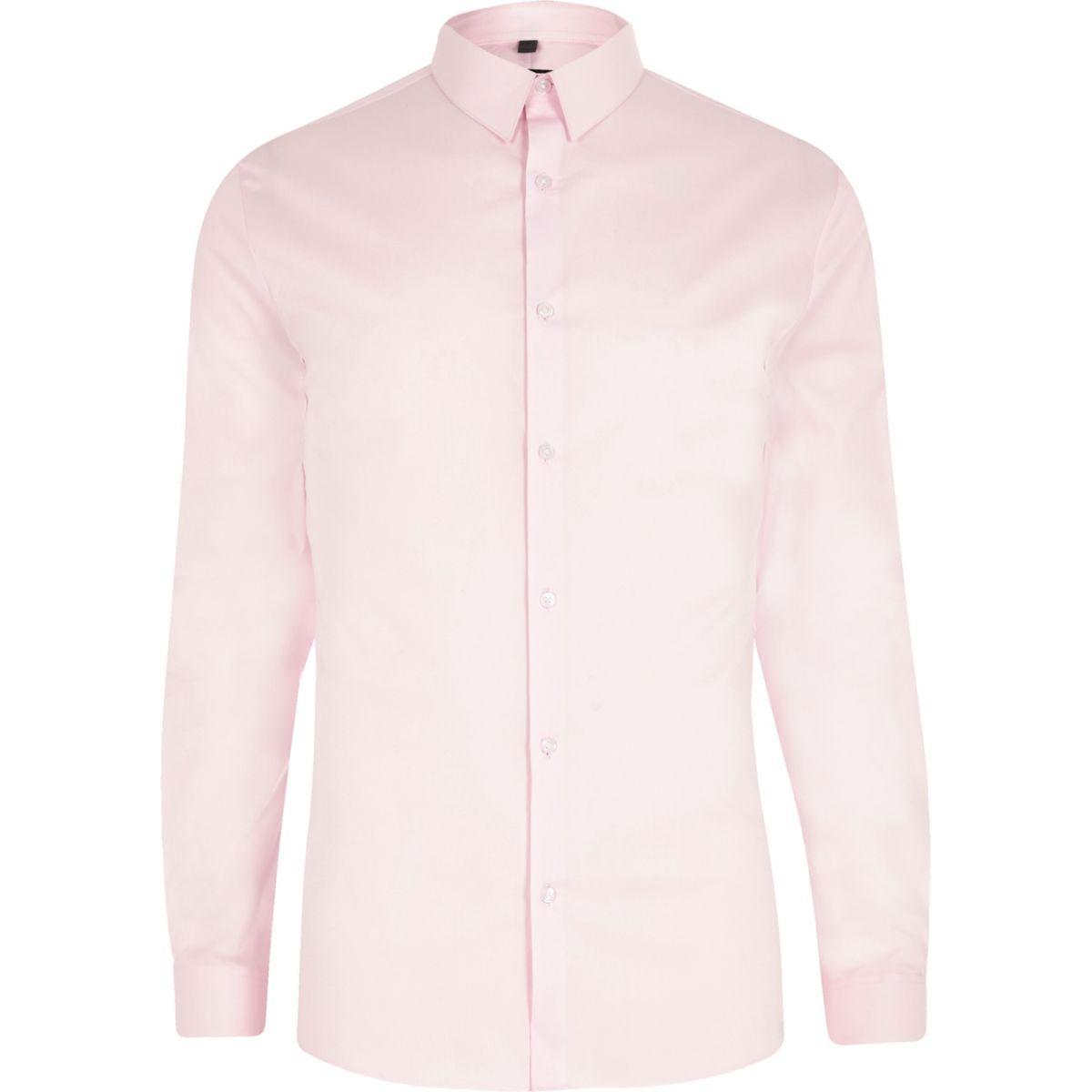 Pink poplin long sleeve muscle fit shirt