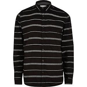 Schwarz gestreiftes langärmliges T-Shirt