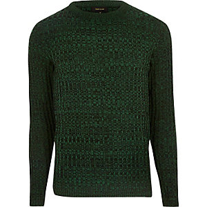 Green ribbed sweater