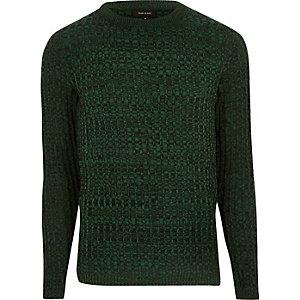 Groene geribbelde pullover