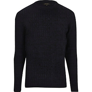 Navy blue ribbed jumper