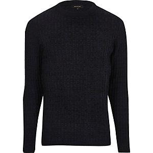 Blauer Ripp-Pullover