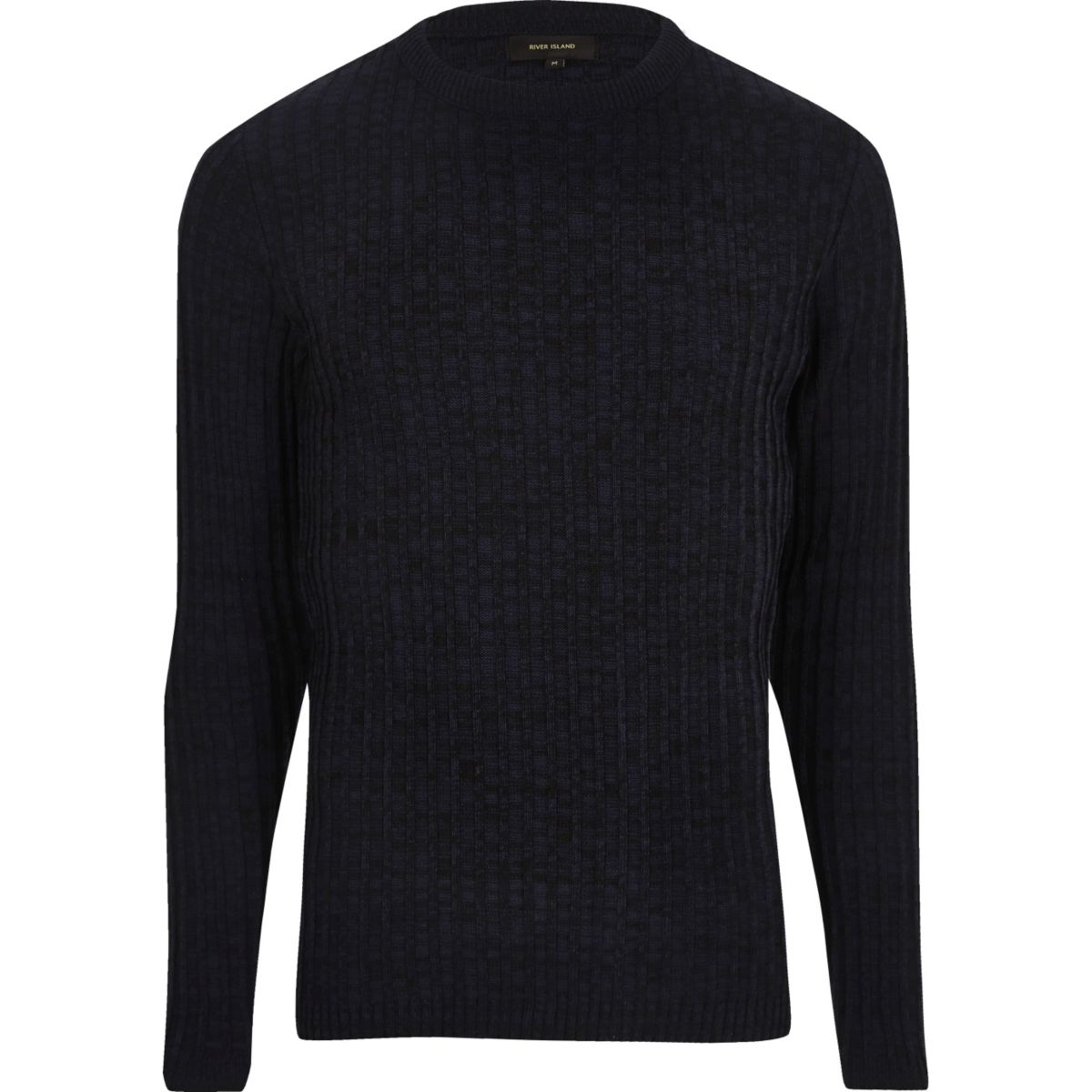 Navy blue ribbed sweater