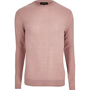Pink textured knit slim fit jumper