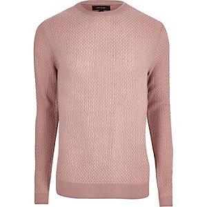 Pinker, strukturierter Slim Fit Pullover
