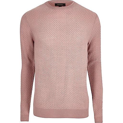 Pink textured knit slim fit jumper