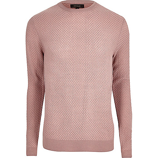Pink textured knit slim fit sweater