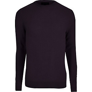 Purple textured knit slim fit sweater