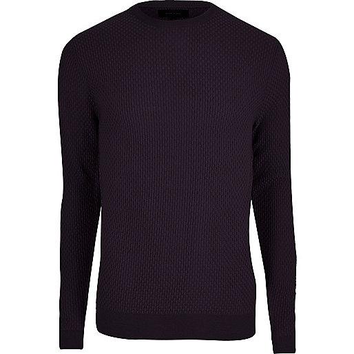Purple textured knit slim fit sweater