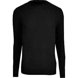 Black textured knit slim fit jumper