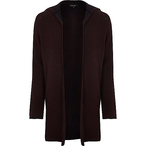 Dark red twisted rib hooded longline cardigan