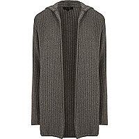 Grey twisted rib hooded cardigan