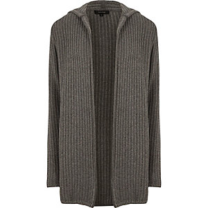Cardigan en maille côtelée torsadée gris à capuche