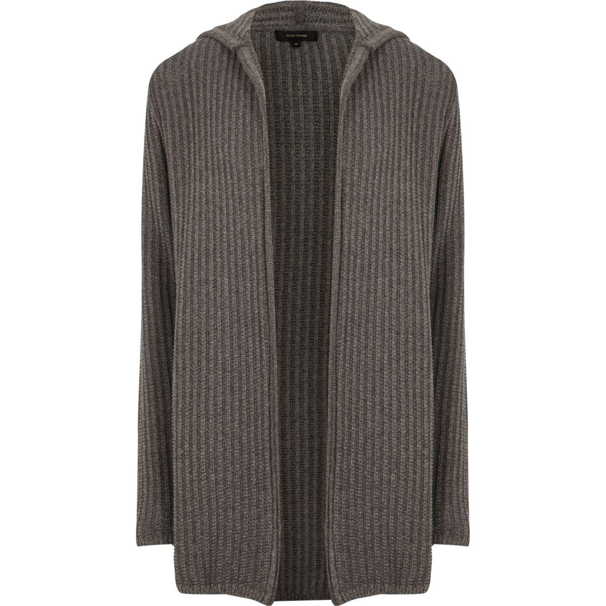 Grey twisted rib hooded longline cardigan