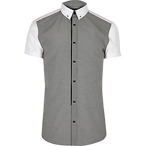 Grey contrast back slim fit shirt