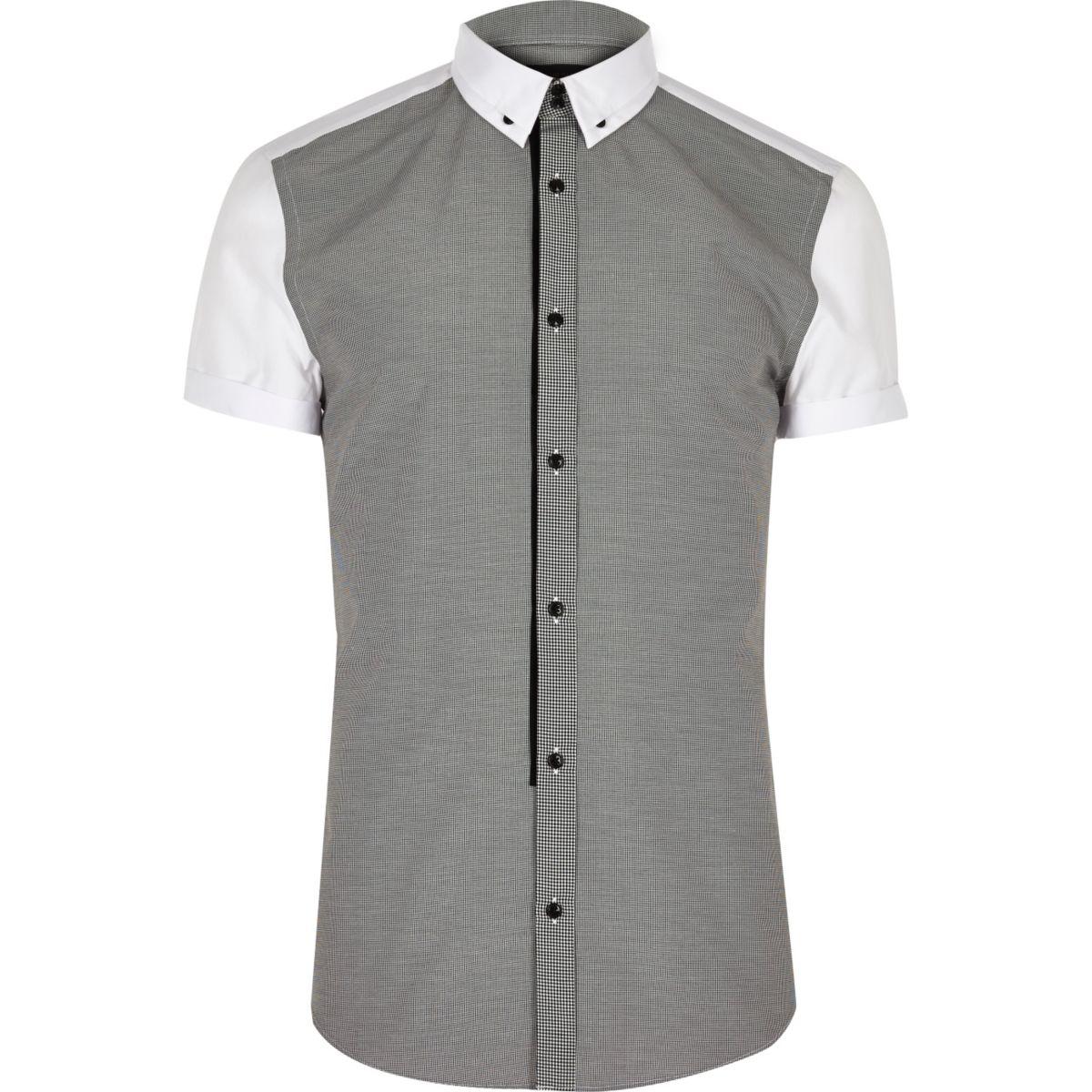 Grey contrast back slim fit shirt
