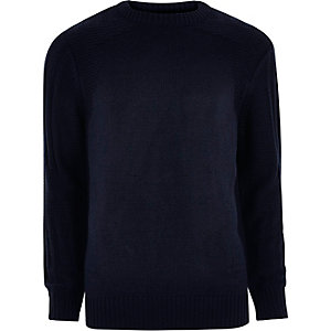 Navy blue textured crew neck knit jumper
