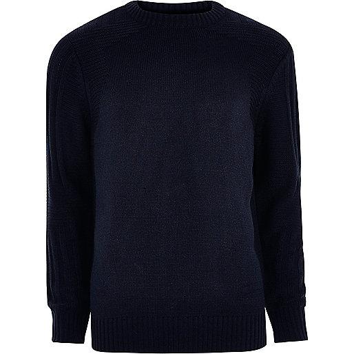 Navy blue textured crew neck knit sweater