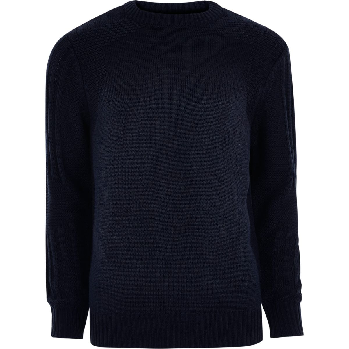 Navy blue textured crew neck knit sweater