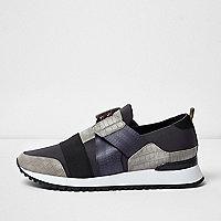 Graue Sneaker mit Gravur und Kroko-Optik