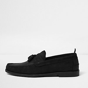 Black embossed textured loafers