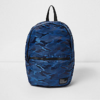 Blue camo print packable backpack