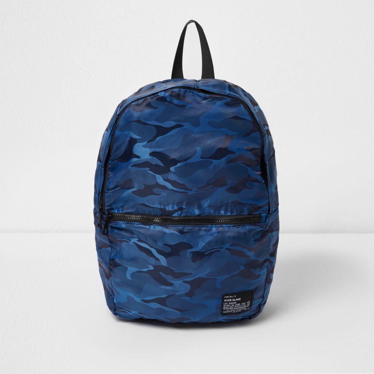 Sac à dos pliable bleu imprimé camouflage