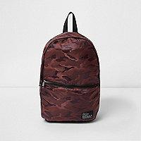 Dark orange camo print packable backpack